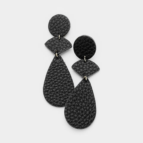 Black Leather Link Earrings
