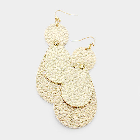 Worn Gold Leather Teardrop Earrings