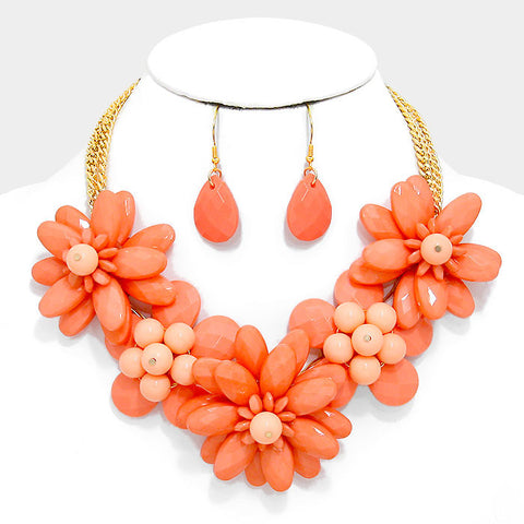 Coral Flower Necklace Set