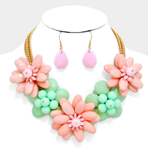 Pink & Green Flower Necklace