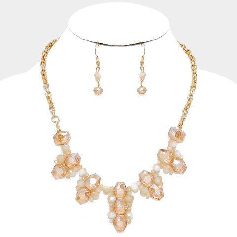 Gold Topaz Bead Necklace Set