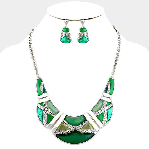Green Crescent Bar Necklace