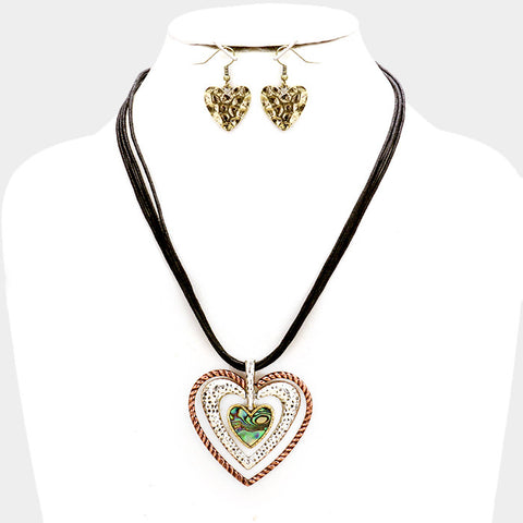 Heart Abalone Necklace Set