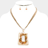 Rose Gold and Peach Cluster Trapezoid Necklace Set