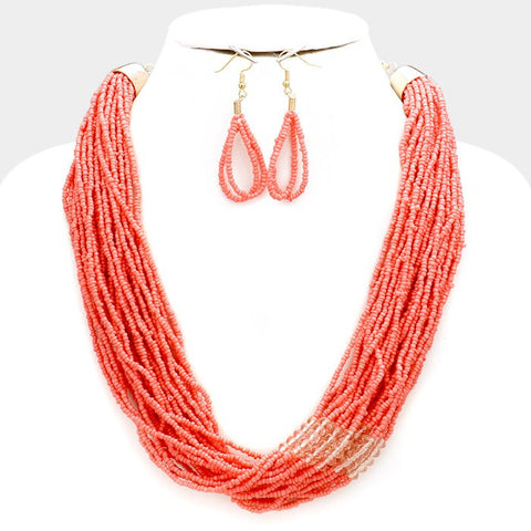 Peach Seed Bead Necklace Set