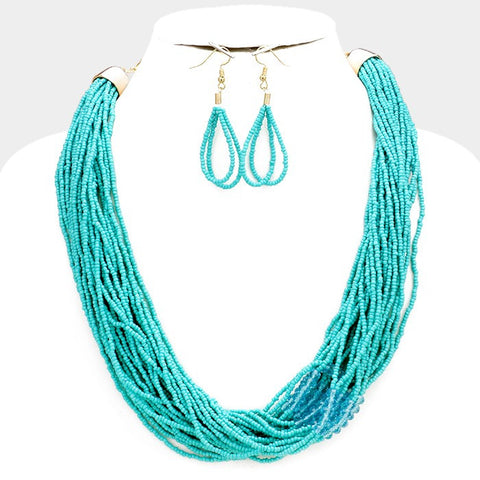 Turquoise Seed Bead Necklace Set