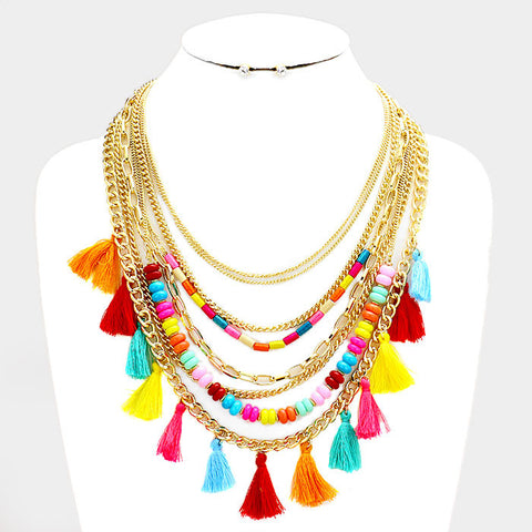 Multi Colored Tassel Charm Necklace Set