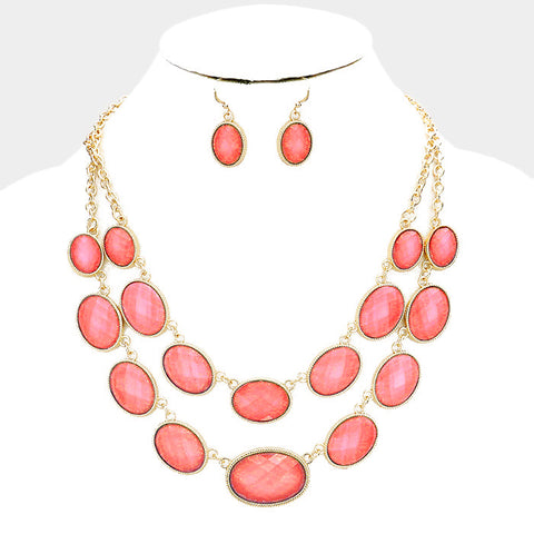 Coral Oval Statement Necklace Set
