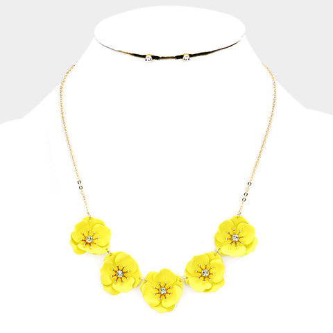 Yellow Flower Necklace Set