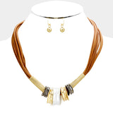 Brown Geo Metal Necklace Set