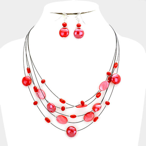 Red Multi Layer Necklace Set