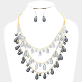 Gray Fringe Bib Necklace Set