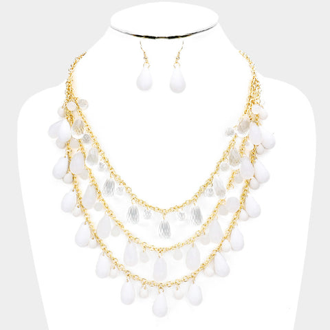 White Fringe Bib Necklace Set