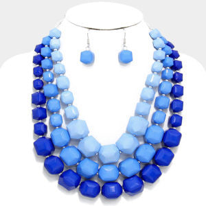 Blue Triple Strand Necklace Set