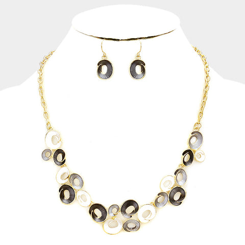 Black, Gold & Gray Statement Necklace