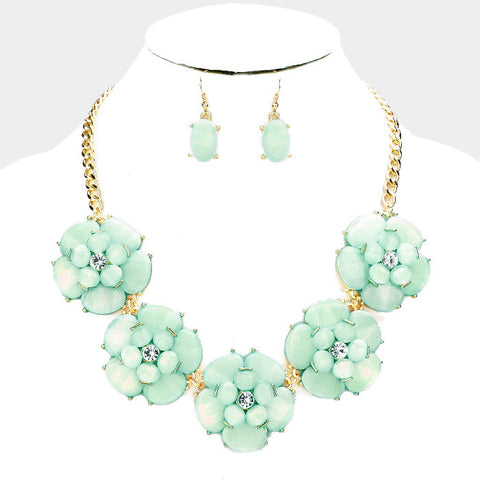 Mint Flower Necklace Set