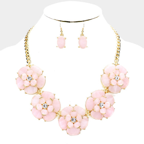 Pink Flower Necklace Set