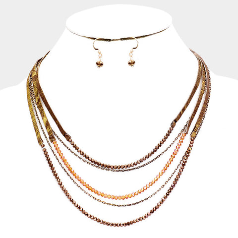 Brown Leather Bead Necklace Set