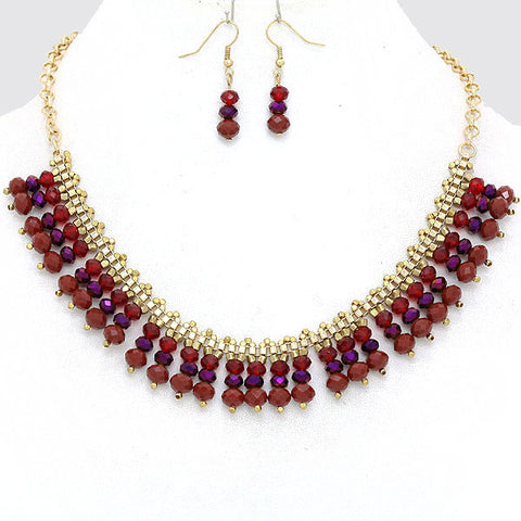 Red, Gold and Purple Necklace Set