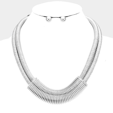 Silver Double Cord Necklace Set