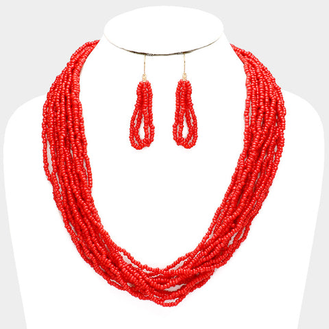Red Seed Bead Necklace Set