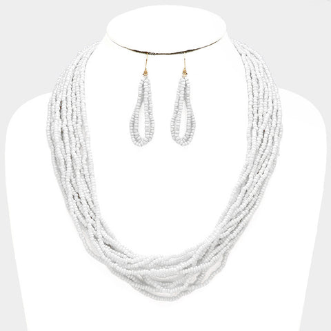 White Seed Bead Necklace Set