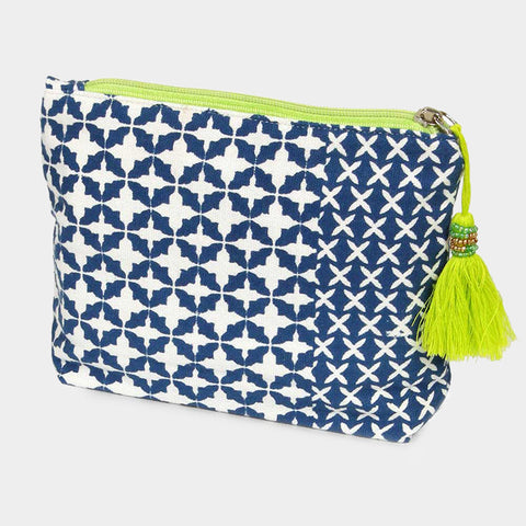 Green and Navy Cosmetic Bag