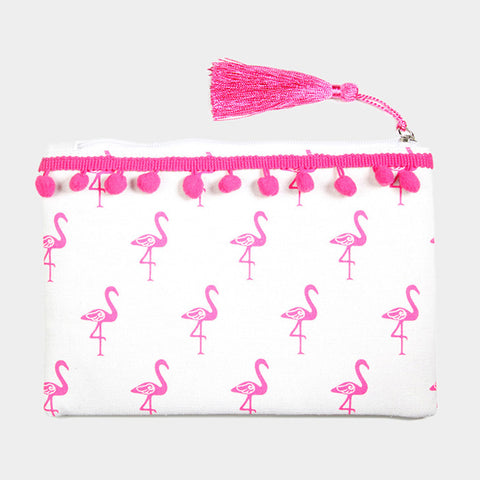 Pink Flamingo Pom Pom Bag