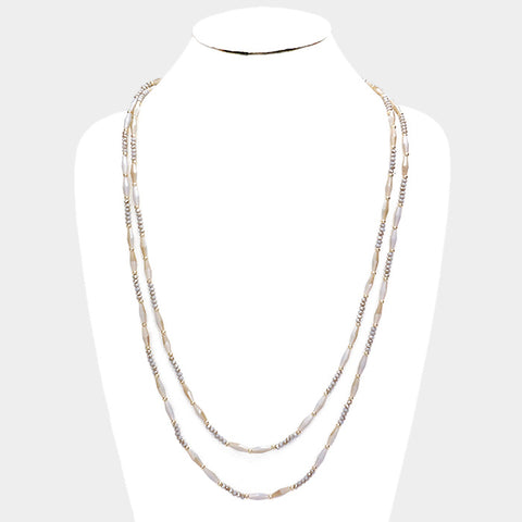 Gold and Gray Glass Bead Necklace