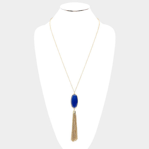 Blue Tassel Pendant Necklace