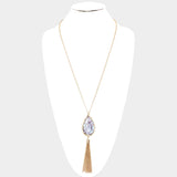 Gray Celluloid Tassel Necklace Set
