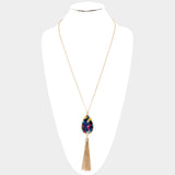 Multi Color Celluloid Necklace Set
