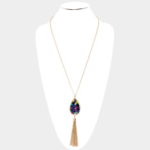 Multi Color Oval Necklace Set