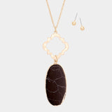 Black Oval Onyx Pendant Necklace Set