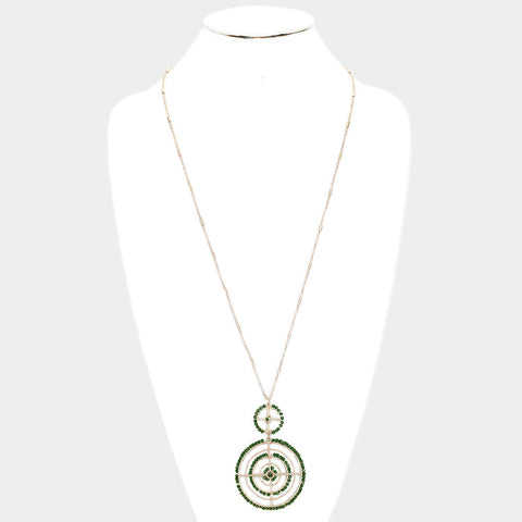 Long Green Circle Necklace