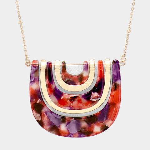 Burgundy Geometric Necklace