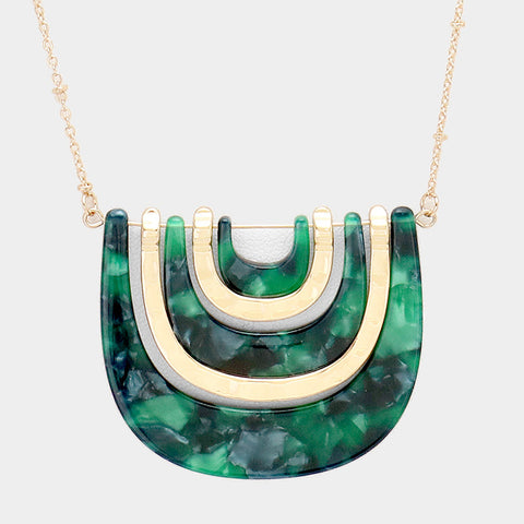 Green Geometric Necklace