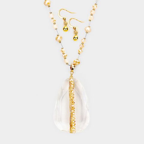 Brown Lucite Teardrop Necklace
