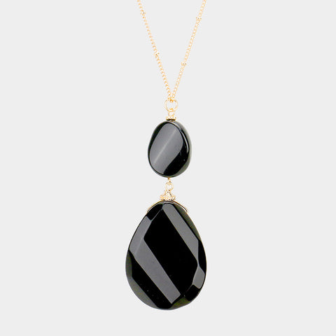 Jet Black Teardrop Pendant Necklace