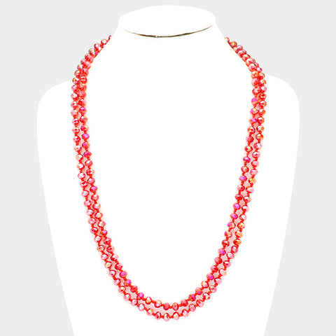 Red Faceted Glass Bead Necklace