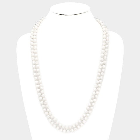 White Faceted Beaded Necklace