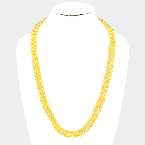 Yellow Faceted Beaded Necklace