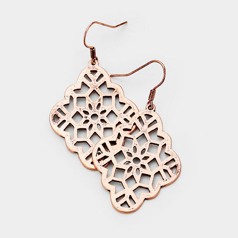 Copper Quatrefoil Earrings