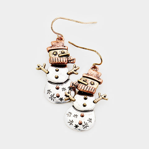 Copper Snowman Earrings