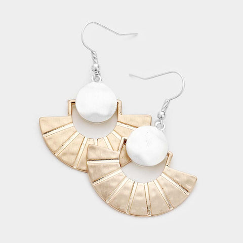 Worn Gold and Silver Fan Metal Earrings