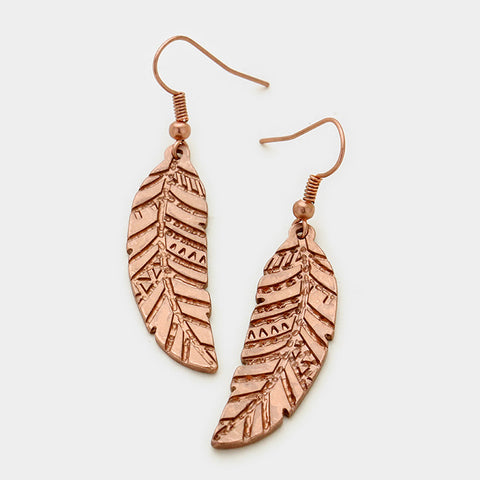 Feather Matte Copper Earrings