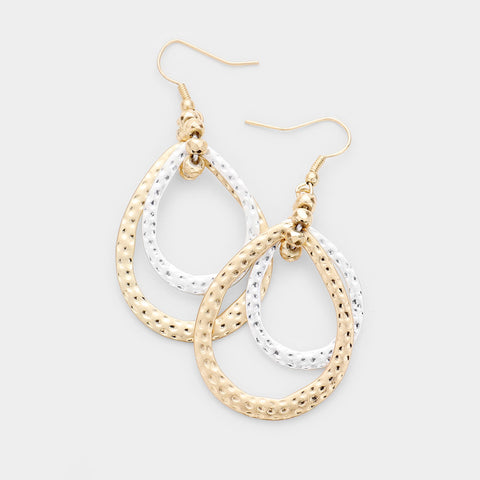 Hammered Double Teardrop Earrings