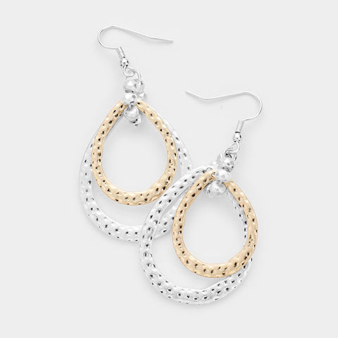 Hammered Gold and Silver Teardrop Earrings
