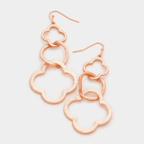Rose Gold Double Clover Earrings