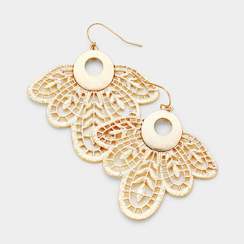 Worn Gold Petal Earrings